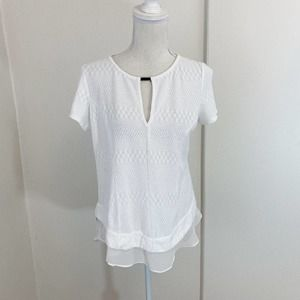 Anthro Deletta White Short Sleeve Top Size Small